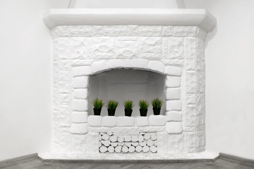 White painted fire place, stone
